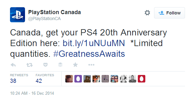 PlaystationCA Tweet